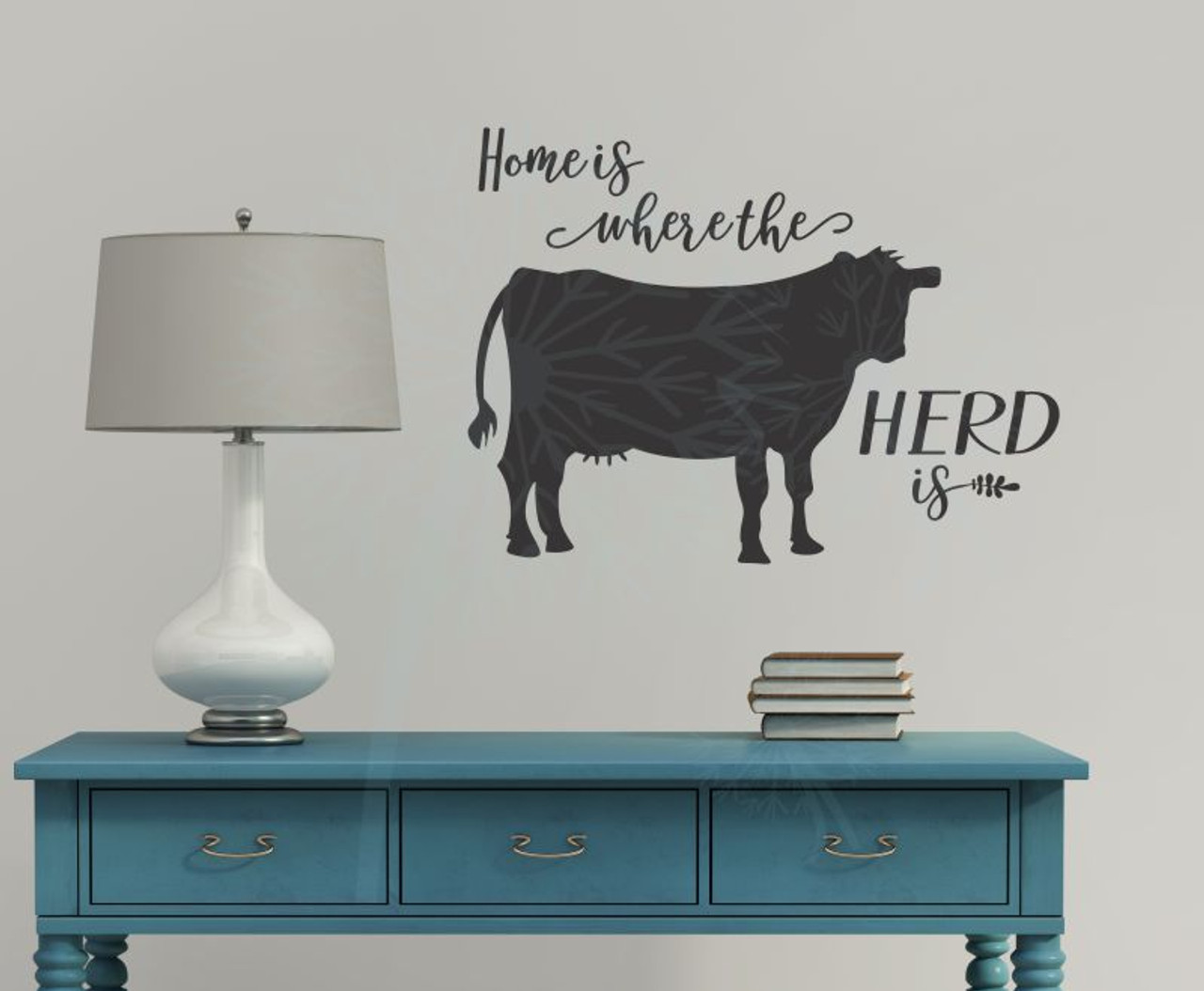 Home Is Herd Cow Wall Decor Vinyl Decal Stickers Cattle Farm Quote