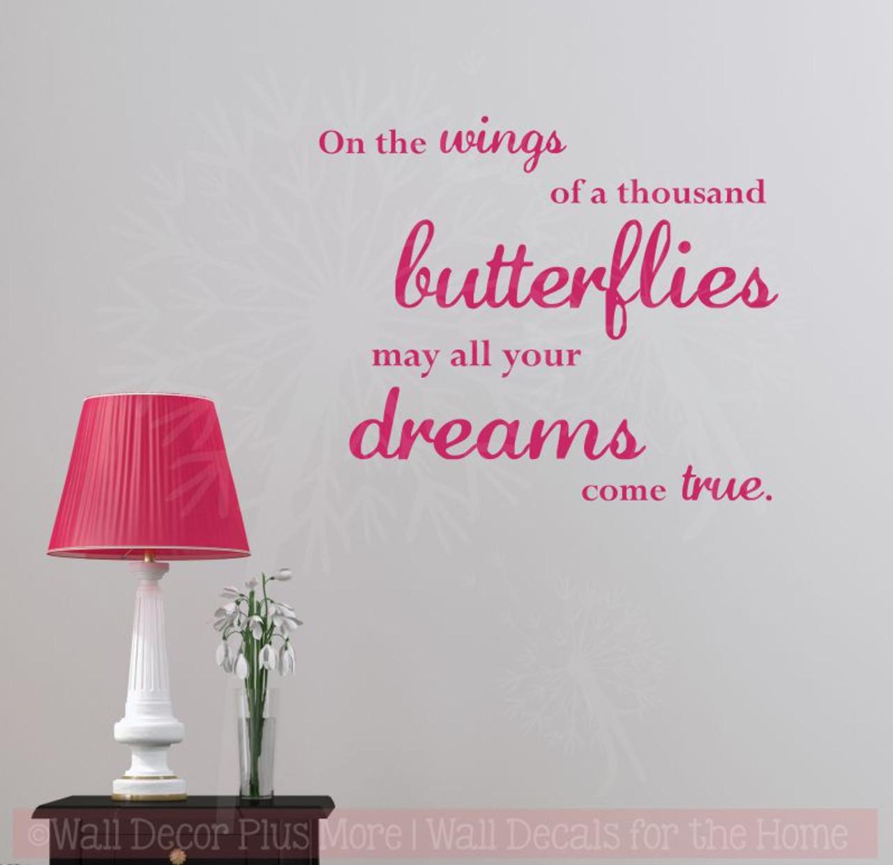 Wings of a Thousand Butterflies Wall Stickers Vinyl Art Decals Girl ...