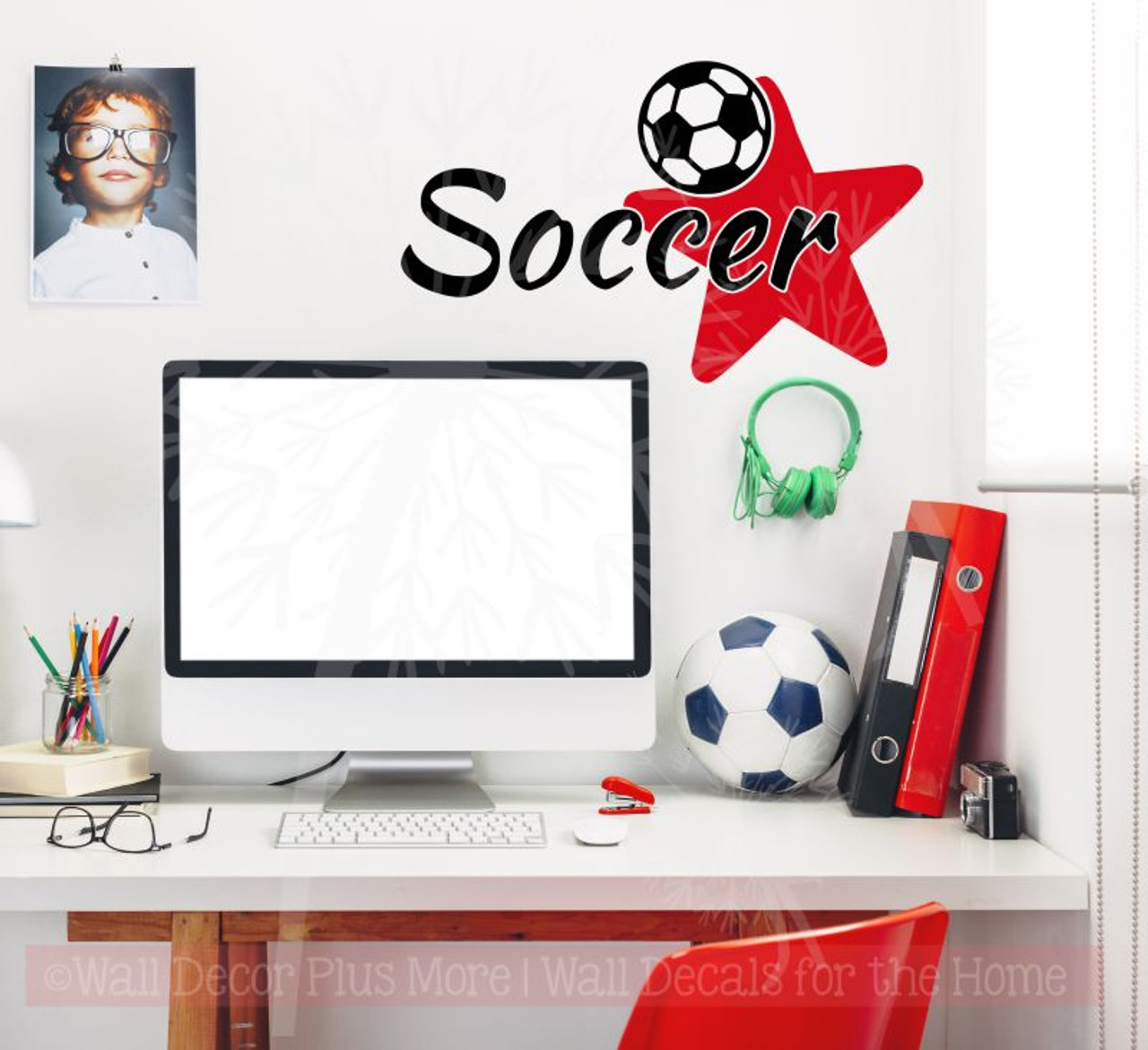 Soccer with Star Vinyl Lettering Sports Decals Wall Stickers Teen Bedroom Decor  sc 1 st  Wall Decor Plus More & Soccer with Star Vinyl Lettering Sports Decals Wall Stickers Teen ...
