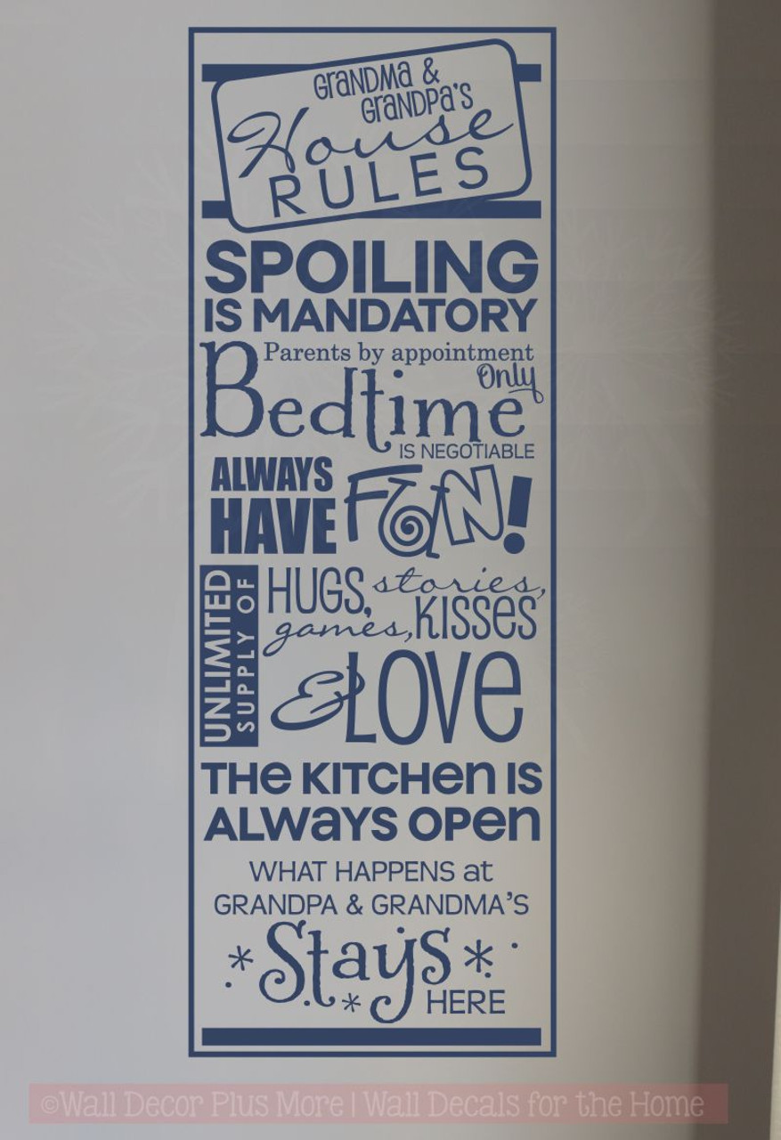 Grandma Grandpas House Rules Wall Decals Vinyl Letters Stickers
