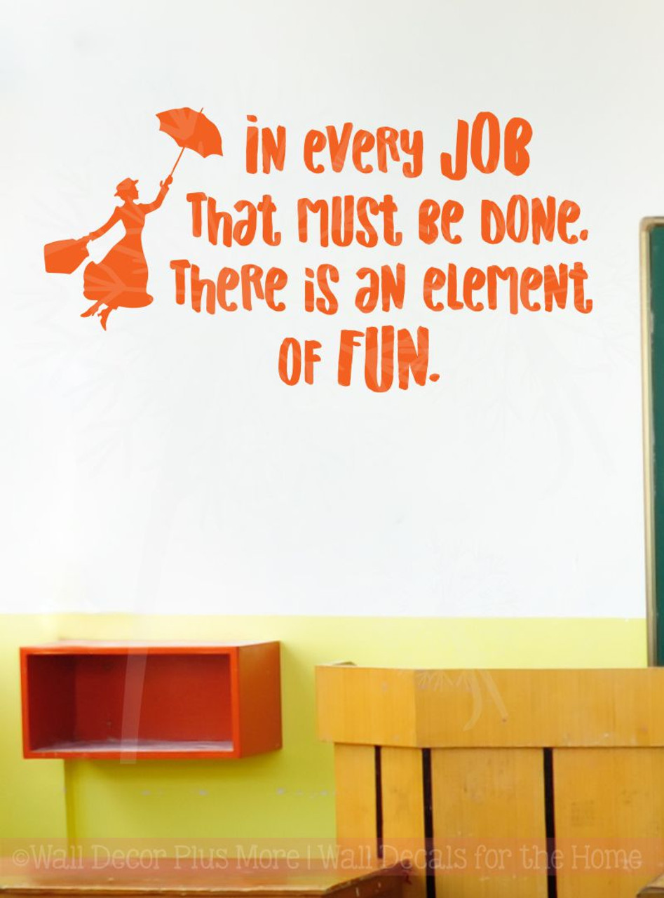 Every Job Element Of Fun Quote Vinyl Letters Art Wall Decals Stickers  Motivational