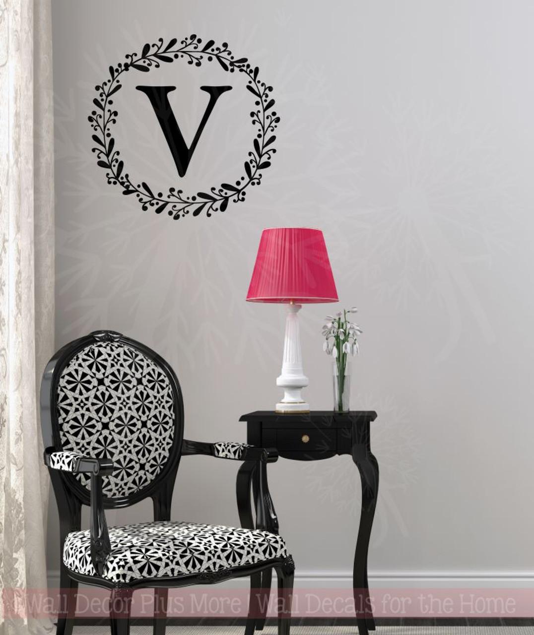 Laurel wreath monogram letter vinyl stickers wall decals custom personalized art