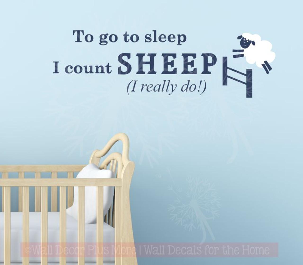 Kids Wall Sticker Really Count Sheep To Sleep Nursery Vinyl
