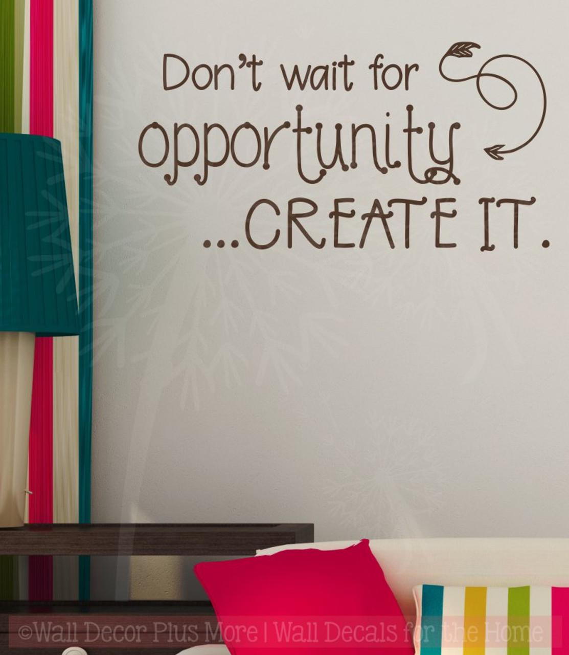 Don\'t Wait, Create It Motivational Vinyl Letter Art School Wall Decals