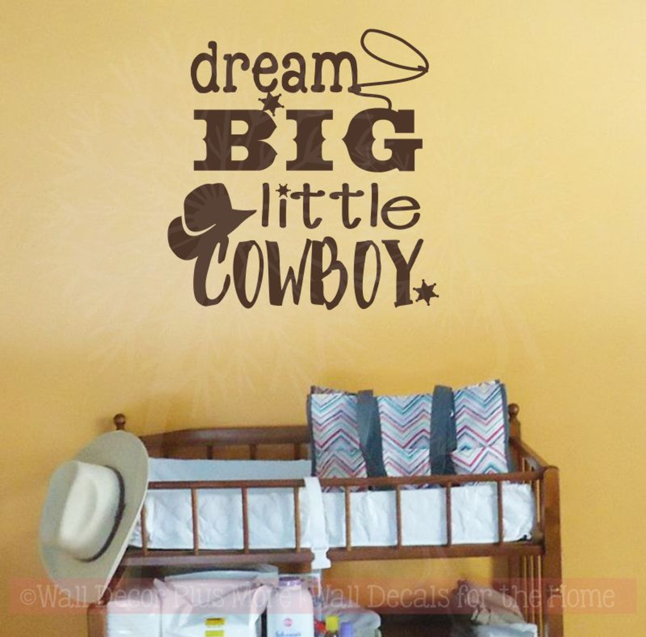 Dream Big Little Cowboy Western Wall Decals Quotes Boys Room Chocolate