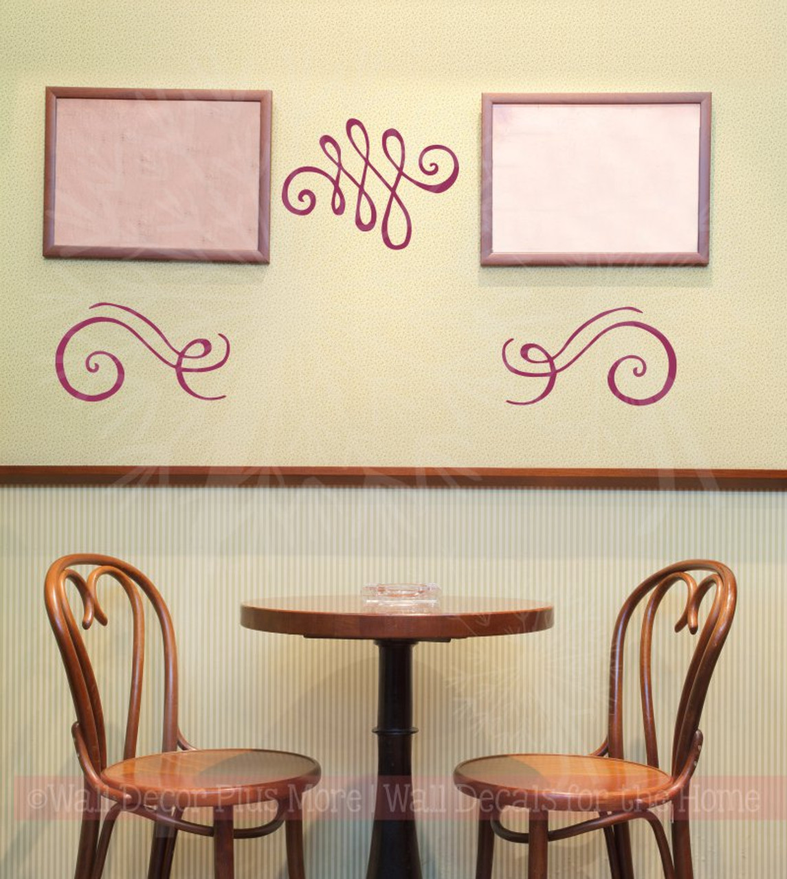 Swirls Wall Art Stickers Vinyl Decals Living Room Home Wall Décor 3pc