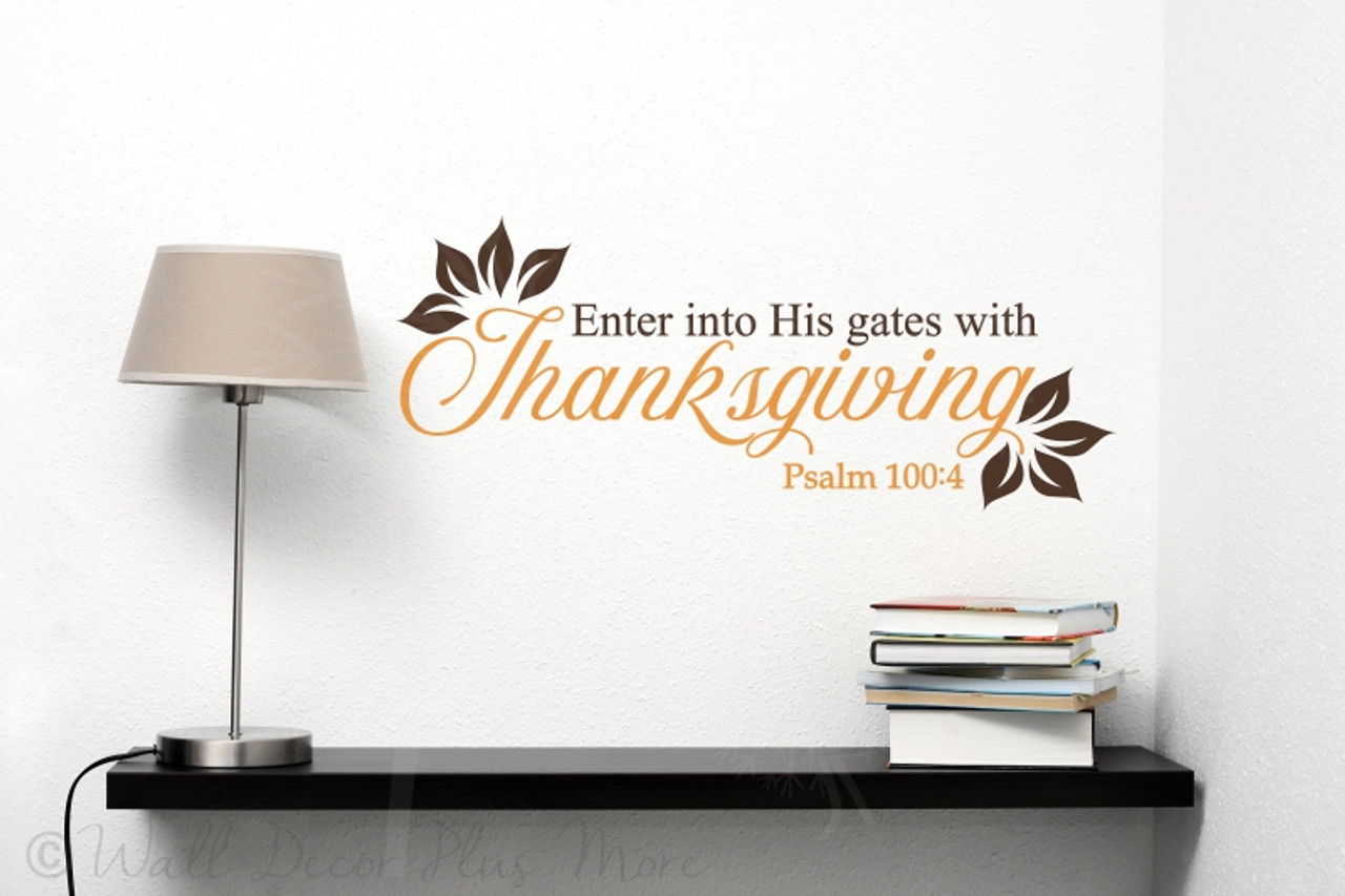 & Enter His Gates with Thanksgiving Vinyl Letters Wall Decals Fall Decor