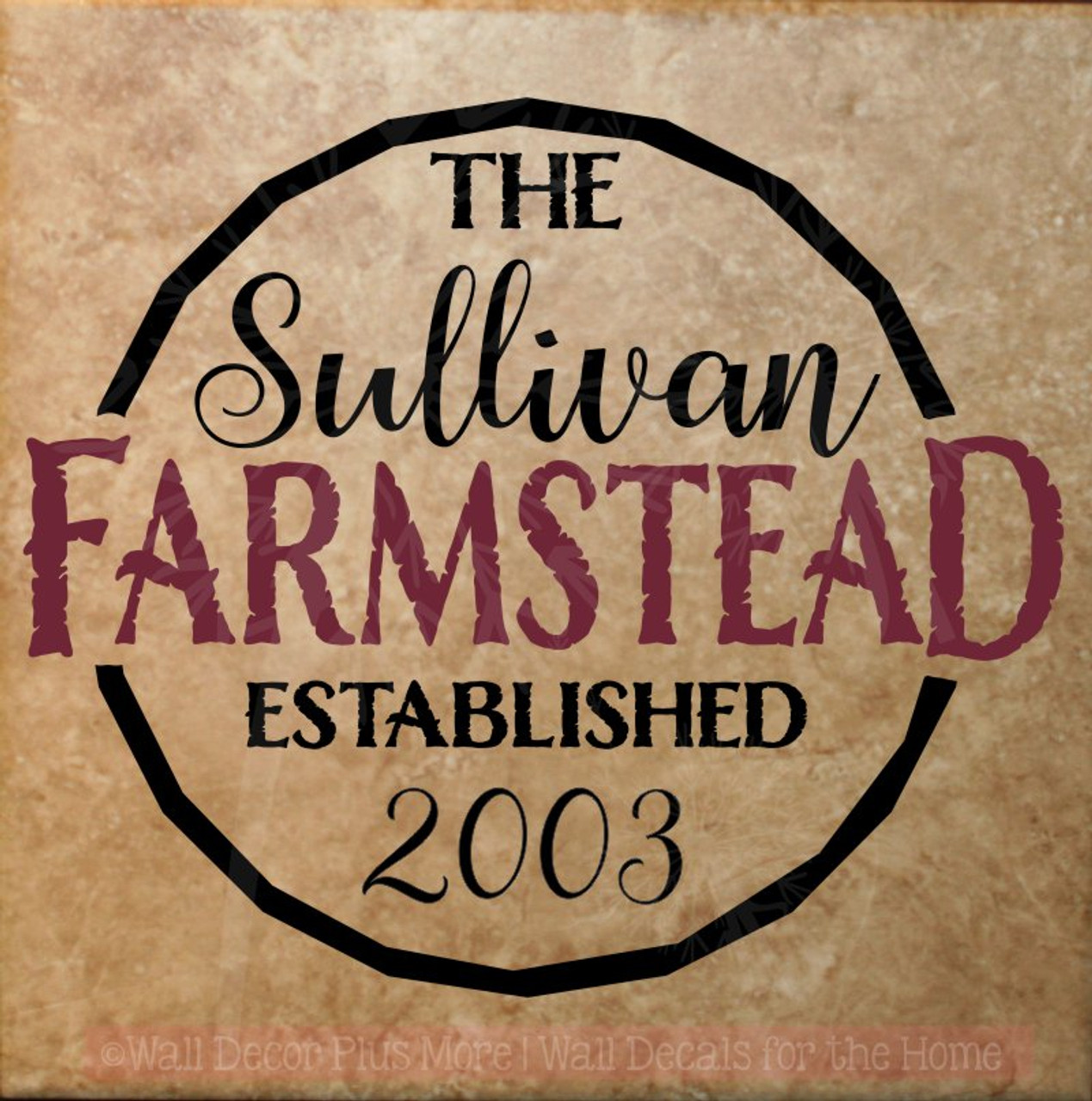 Farmstead Est Family Name Custom Vinyl Letters Wall Decals for Home ...