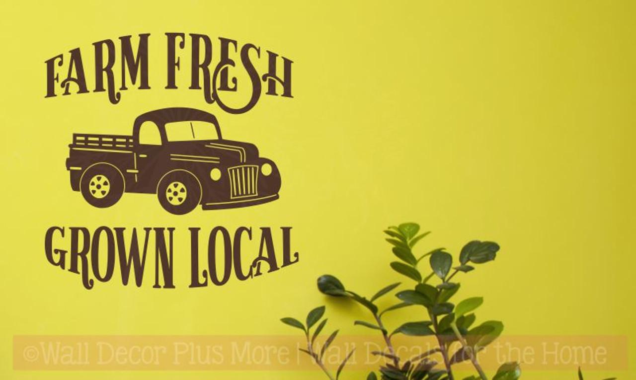 Farm Fresh Grown Local Vintage Pickup Wall Art Stickers Vinyl Decals