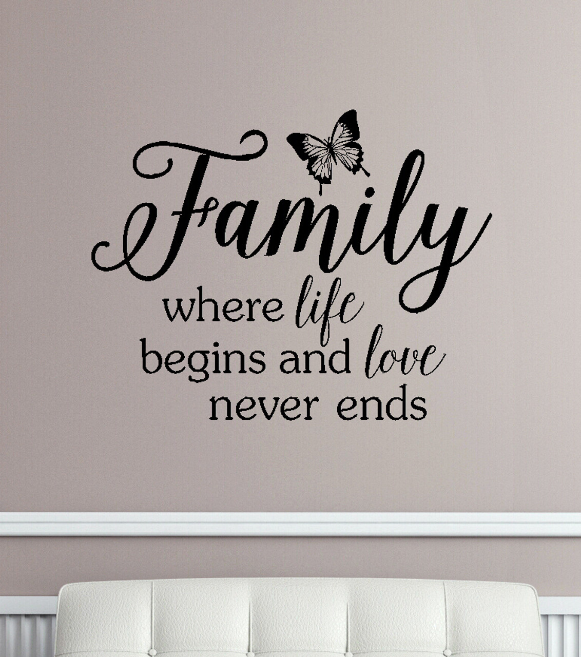 Family Where Life Begins And Love Never Ends Wall Decals