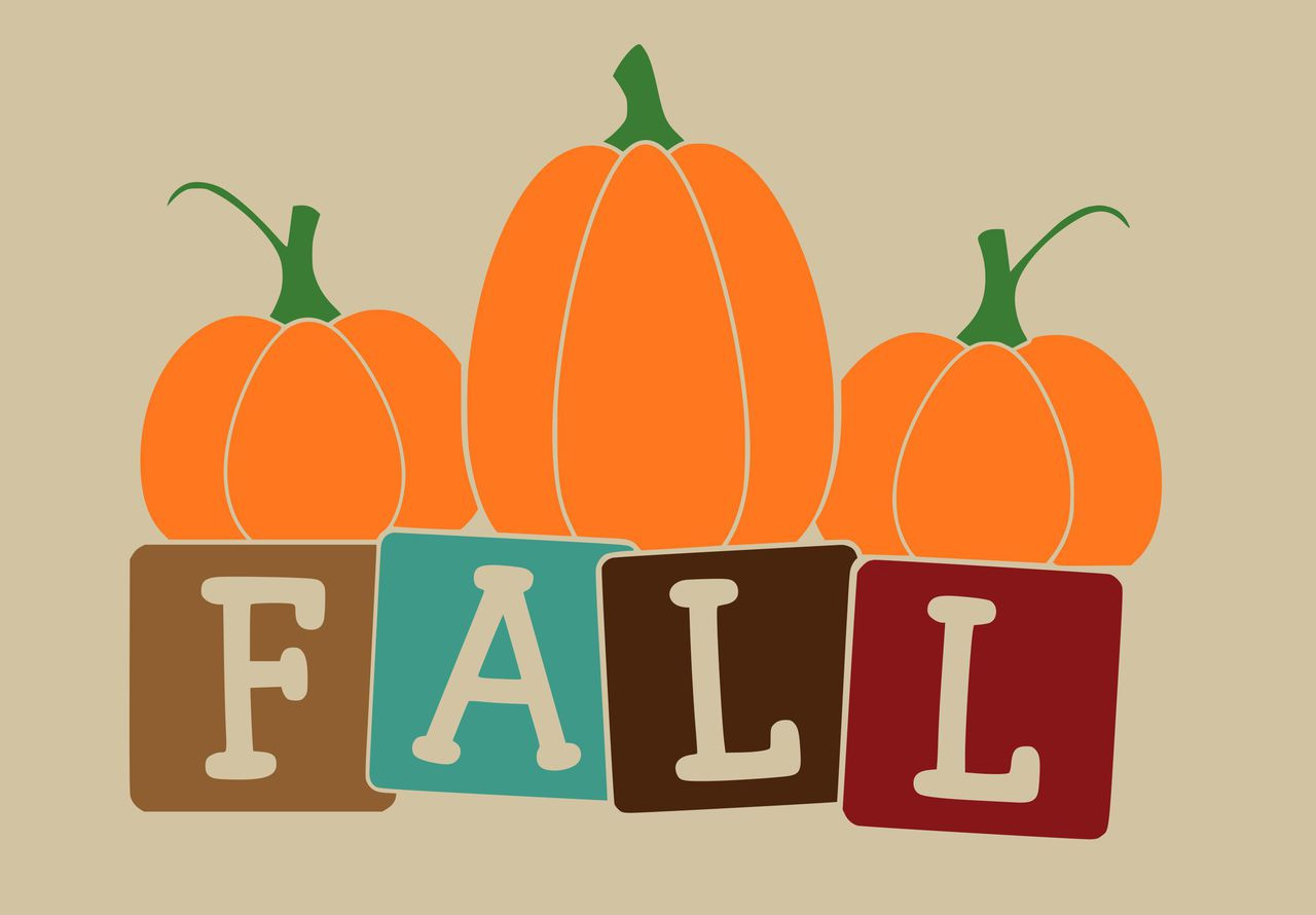 Fall Block Letters With Pumpkin Art Wall Decal Design