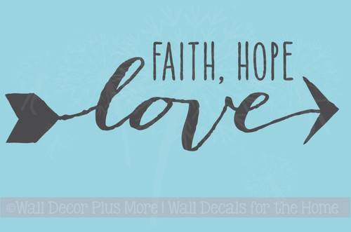 Faith, Hope, Love Modern Wall Decals Graphic with Arrow Design