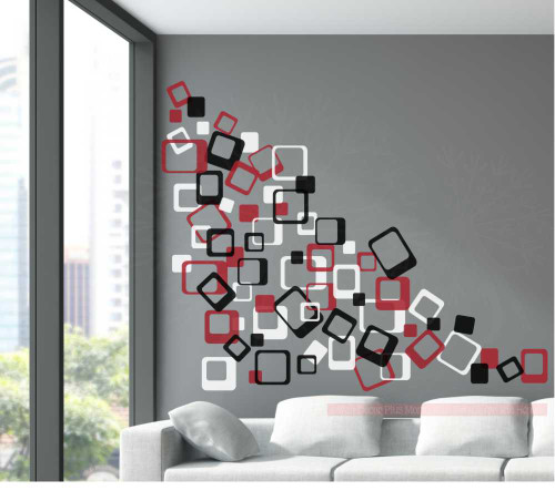 3-Color Funky Square Wall Vinyl Stickers Shapes - Red Black White