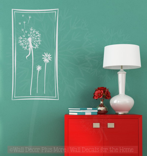 Floating Dandelions in a Square Frame, 12x24, Wall Decal Stickers ...