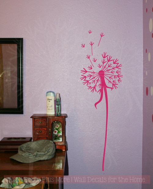 Single Dandelion Wall Decor Vinyl Decal Stickers with Floating Petals, 7x24-Hot Pink