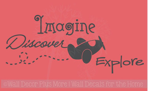 Imagine Discover Explore Boys Wall Decal Sticker Saying with Floating Airplane