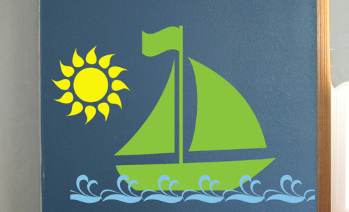 Sailboat with Sun and Waves Nautical Vinyl Wall Decals Stickers Art