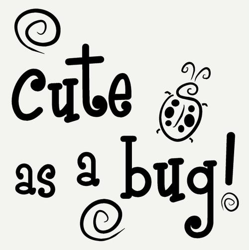 Cute as a Bug with Ladybug and Swirls Wall Art Sticker Girls Vinyl ...