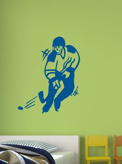 Hockey Player Sports Wall Art Decal Stickers Traffic Blue