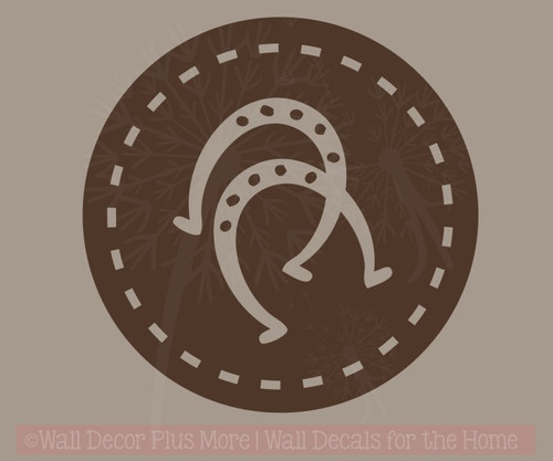 ... Horse Shoes In Circles Wall Decal Western Bedroom Decor Vinyl Art  Chocolate