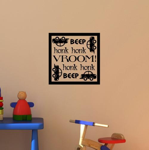 Beep Honk Vroom Boy's Car Wall Art Vinyl Decals Stickers