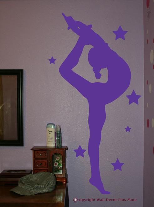Gymnast Silhouette with Stars Girls Wall Sticker Vinyl Wall Art Decals