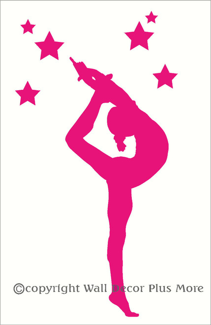 Gymnast Silhouette With Stars Girls Wall Sticker Vinyl -9539