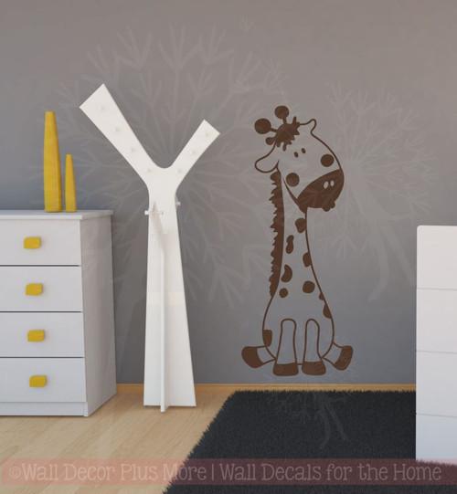 Baby Giraffe Vinyl Wall Art Sticker Decals for Nursery or Child's Room Decor-Chocolate Brown