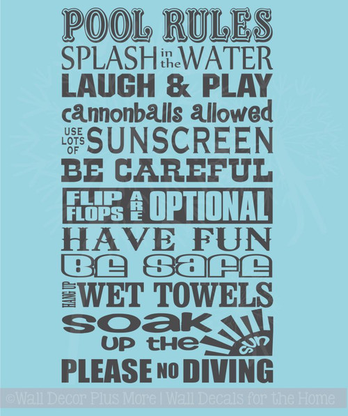 Pool Rules Fun Summer Wall Decal Stickers Vinyl Wall Letters Quotes