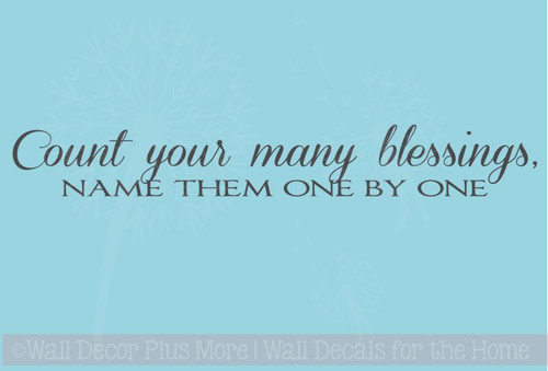 Count Your Many Blessings Vinyl Wall Sticker Decals Wall Letters Quotes