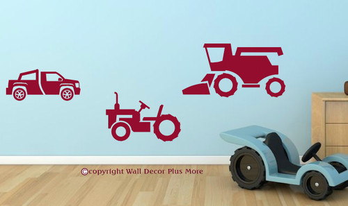 Boys Farm Wall Decals Stickers Set of 3 - Combine, Tractor, Truck-Red