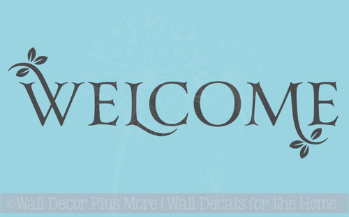 Welcome with Leaves Vinyl Wall Decal for Entryway Decor