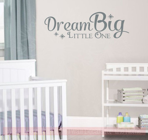 Dream Big Little One with Stars Wall Vinyl Decals Nursery Quote Sticker Decor-Storm Gray