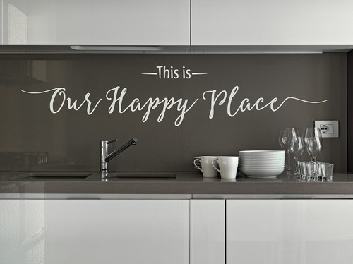 This Is Our Happy Place Wall Decal Quote for Entryway Decor-Warm Gray