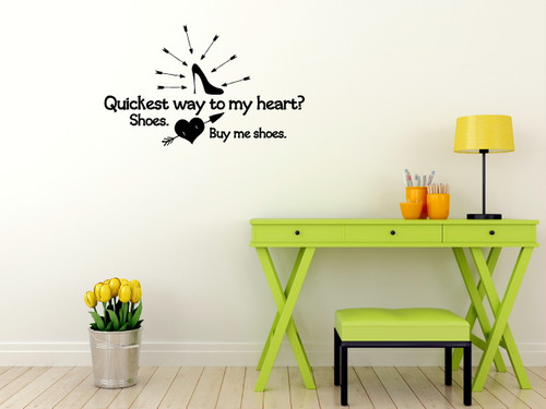 Buy Me Shoes - Funny Wall Decal Saying for Bedroom Home Decor-Black