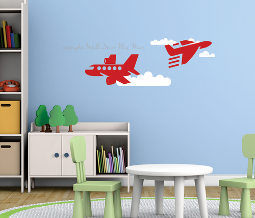 Airplanes and Clouds Boys Wall Art Vinyl Decals Red White