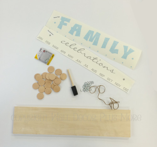 Family Celebrations Kit Board, Vinyl Decal, Wooden Circles, Hooks