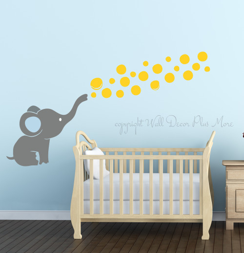 Elephant Wall Decal with Floating Bubbles, Cool Nursery Room Decor,Storm Gray, Yellow