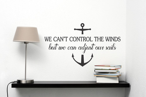 We Can Adjust Our Sails Nautical Inspirational Wall Decals Stickers Quotes-Black