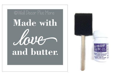 Etching Kit for Square Glass Dish Made with Love Butter Vinyl Sticker Stencil, Cream, Brush
