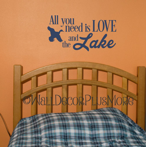 All You Need Is Love and the Lake Camper Décor Wall Lettering Decals Duck Option small size