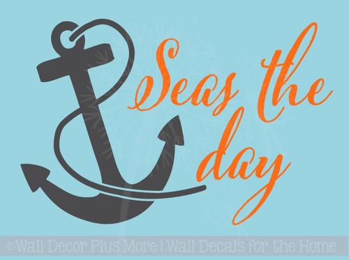 Seas the Day with Anchor Nautical Beach Summer Wall Decals Sticker