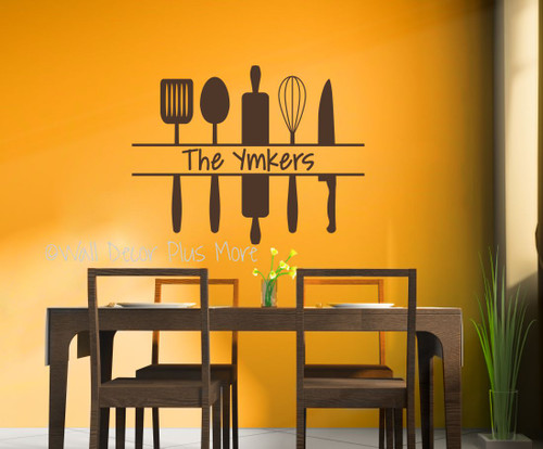 personalized kitchen wall art custom name with utensils wall decal