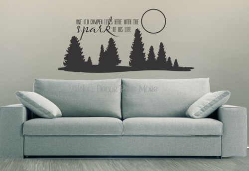 One Old Camper Lives Here with the Spark of His Life Wall Decals Vinyl Stickers