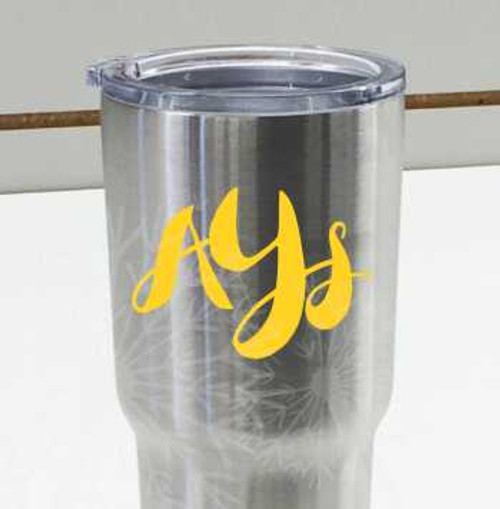 Funky Cursive 3-Letter Monogram Decals for RTIC or Yeti Tumblers, Set of 2