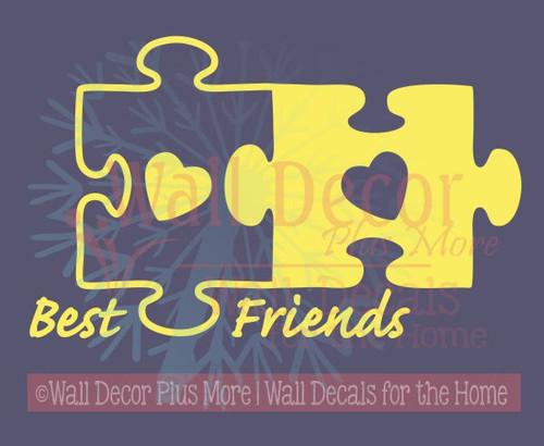 Best Friends Puzzle Pieces Vinyl Wall Art Decals Sticker-Yellow