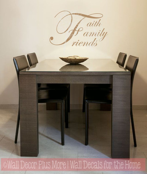 Faith, Family, Friends Cursive Wall Letters Vinyl Sticker Decals Tan