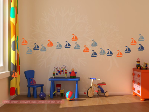 Sailboats Wall Decals Boys Nautical Wall Art Stickers, 21pc, 3 Colors, 3-Inch-Storm Gray, Deep Blue, Orange
