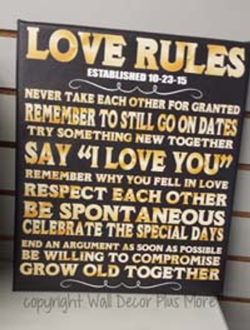 Love Rules Personalized Wedding Gift Date Canvas Print Wall Art