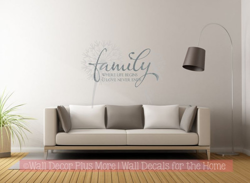 Family where life begins love never ends wall decals quotes vinyl sticker storm gray